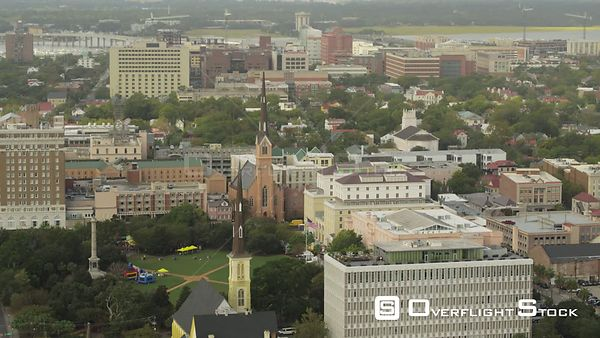 South Carolina Charleston Aerial Birdseye view of Marion Square looking out toward Ashley River