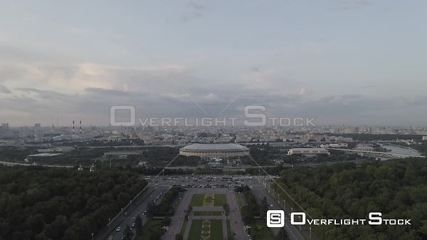 Early Sunset Flight Towards Luzniki Stadium. Moscow Russia Drone Video View