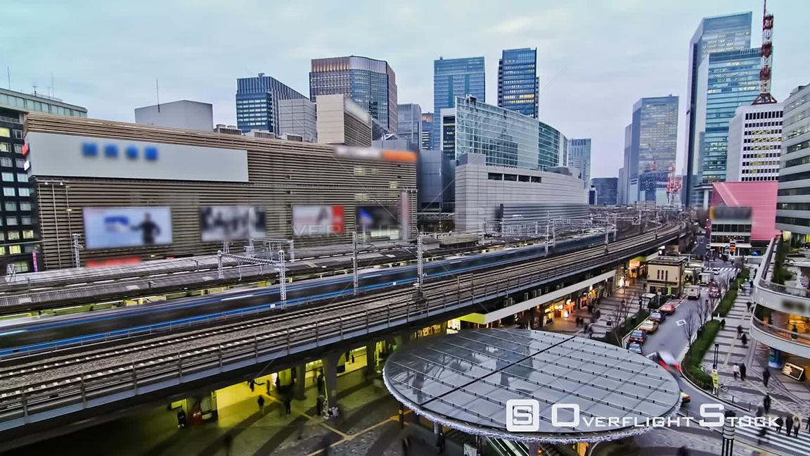 City traffic time lapse of Ginza train station. Japan