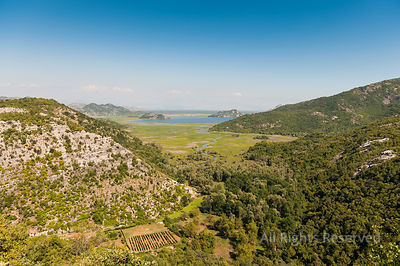 Countryside Aerial Mountain View from in Direction of Skadar Lake at the Horizon, Lake Skadar National Park Montenegro