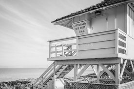 Maui Lifeguard Tower Kamaole Beach Black and White Photo