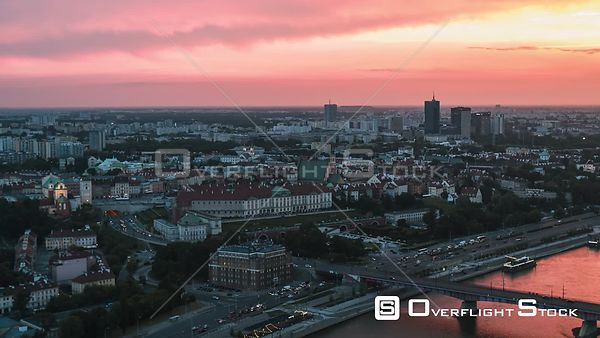 Drone Video Cityscape Warsaw Poland