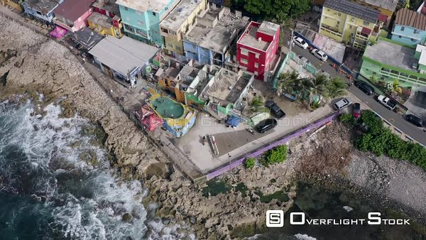 San Juan Antiguo Colorful Old Homes and Restaurants Drone Aerial View Puerto Rico