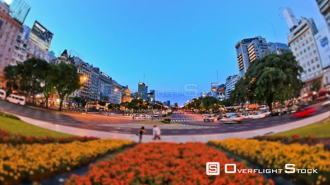 City traffic time lapse of Plaza de la Republica in Buenos Aires Argentina