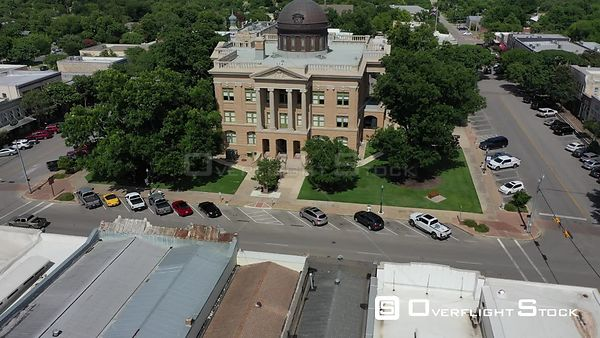 Rooftops, street and parking at the courthouse, downtown, Georgetown, Texas, USA