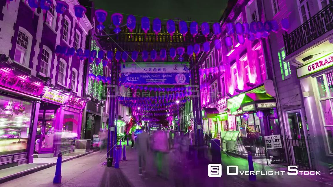 Time lapse zoom in view of Chinatown in London with at night with lights shifting color