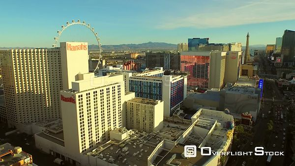 Low flying aerial over strip Las Vegas Nevada