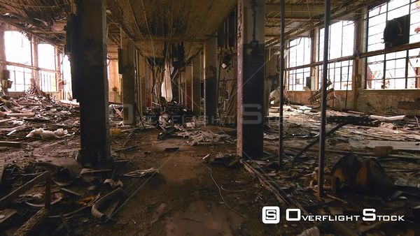 Interior of a Rundown Abandoned Remington Factory in Ruins Bridgeport Connecticut