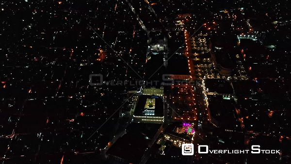 Cuba Havana Birdseye nighttime view with street traffic detail