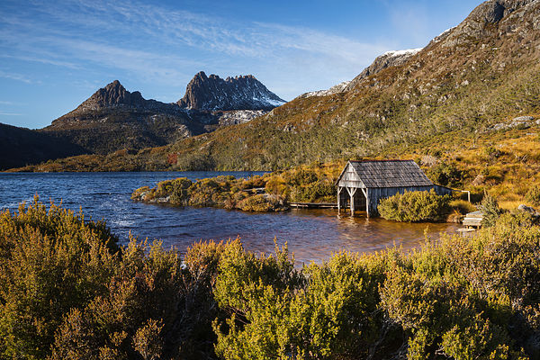 Boathouse on Dove Lake Looking Towards Cradle Mountain