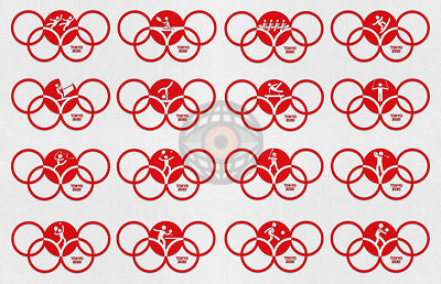 TOKYO, JAPAN, 24 July - 9 August 2020. Graphic interpretation for the the Tokyo Summer Olympics 2020 - Sport Icons 2.