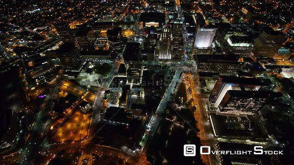 New Jersey Newark Aerial Birdseye Downtown Night