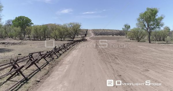 Drone Video Border Wall Nogales Arizona Sonora Mexico River Wash