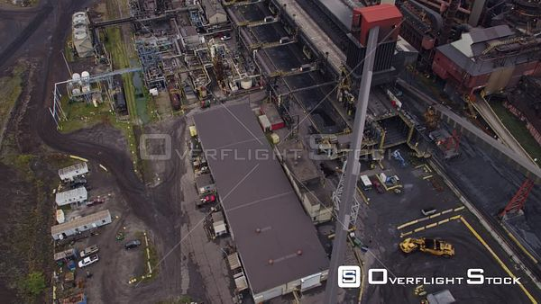 Hamilton Industrial Sector Ontario Panning birdseye to wide view of Industrial Sector plant
