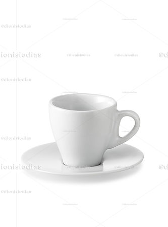 Cup with saucer of crockery isolated 01