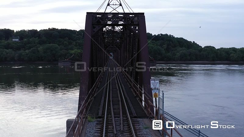Looking through a Railroad Bridge on the Mississippi River, Dubuque, Iowa, USA
