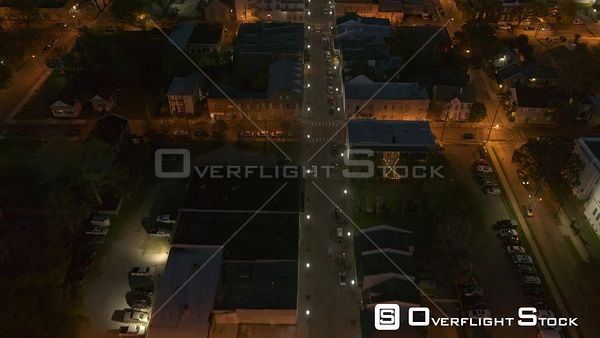 Mobile Alabama birdseye city streets tilt up reveal of downtown clity lights at dusk  DJI Inspire 2, X7, 6k