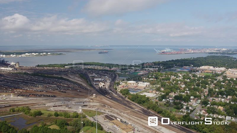 Norfolk Virginia Aerial Panoramic cityscape with river and railway terminal tracks