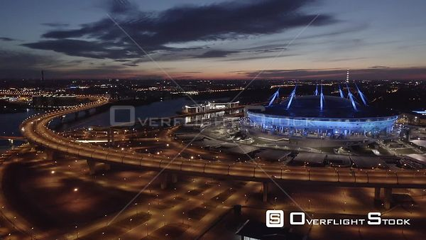 Night Forward Shot of Circle Road and Football Field Zenit Arena. Saint Petersburg Russia Drone Video View