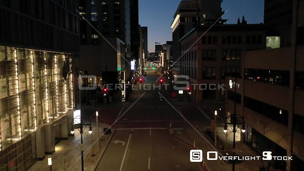 Denver, CO US. COVD-19 Empty 14th Street During Pandemic Lockdown