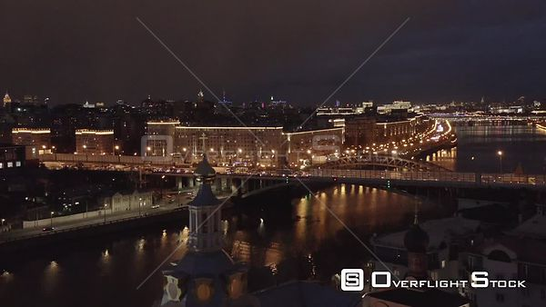 Night Flight Over the Orthodox Church and Moscow River, With Night Cityscape. Moscow Russia Drone Video View