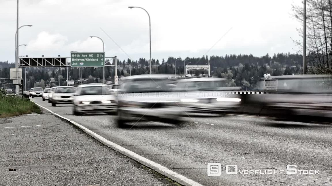 Seattle Washington State USA Seattle highway 520 traffic time lapse with lower saturation.