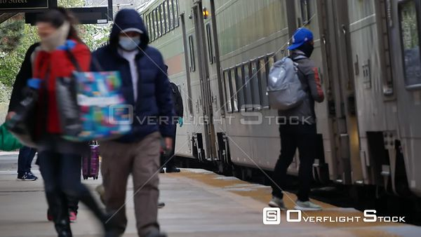 Face Masked and Social Distancing during COVID-19 Pandemic at a NYC Trainstation