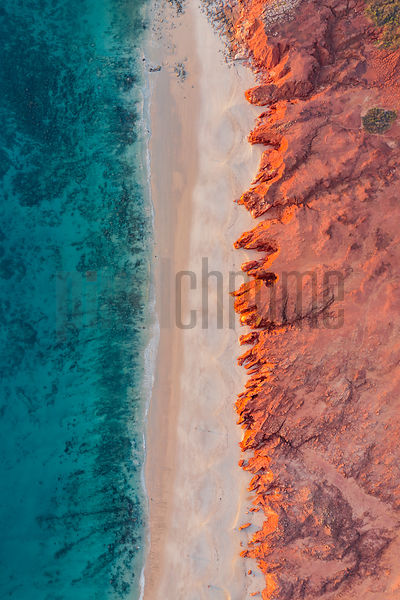Overhead View of Red Limestone Cliffs and Cape Leveque Beach
