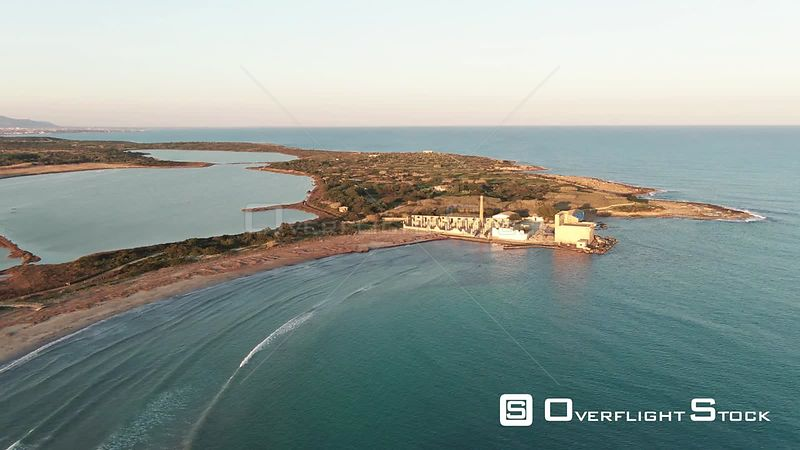 Aerial dolly view of the nature reserve of Vendicari on the coast of Sicily. Italy