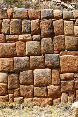 Detail of Inca stone wall of second terrace below temple of Iñak Uyu, Moon Island, Lake Titicaca, Bolivia