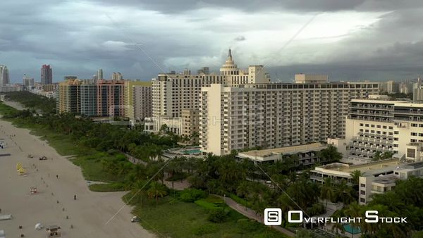Storms approaching Miami Beach aerial video