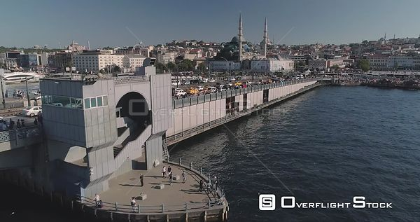 Aerial View of Galata Bridge Turkey