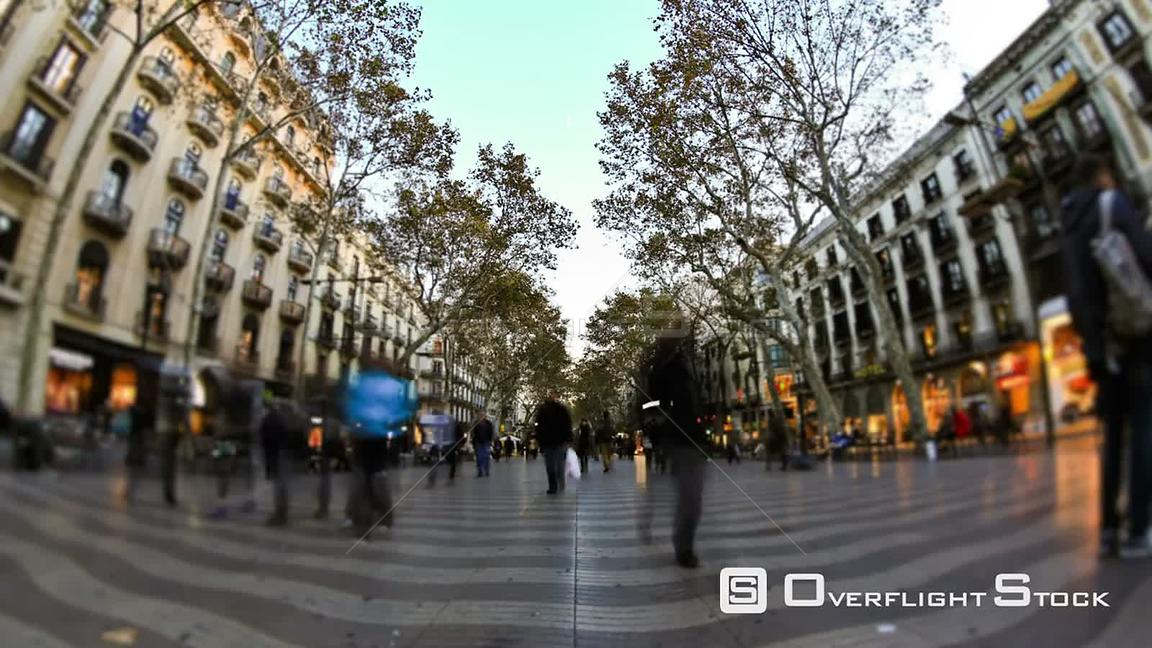 City and pedestrians time lapse in Barcelona Spain