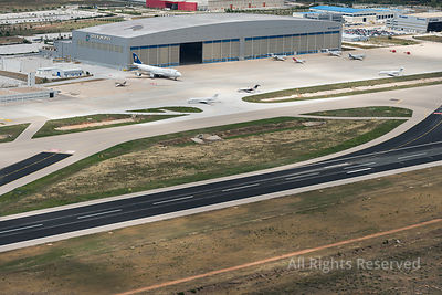 Aerial View on Athens Airport Runway, Taxiways and Apron With Olympic Airways Hangar Greece