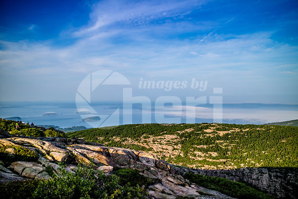 The overlooking Frenchman Bay in Acadia National Park, Maine