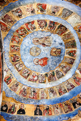 Painting of biblical characters on ceiling of dome above main altar of San Pedro church, Tiwanaku, La Paz Department, Bolivia