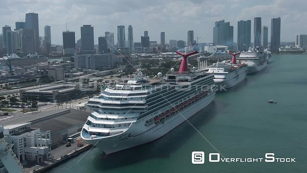 Drone Video Empty Cruise Ships at Port COVID-19 Coronavirus Lockdown Miami Florida