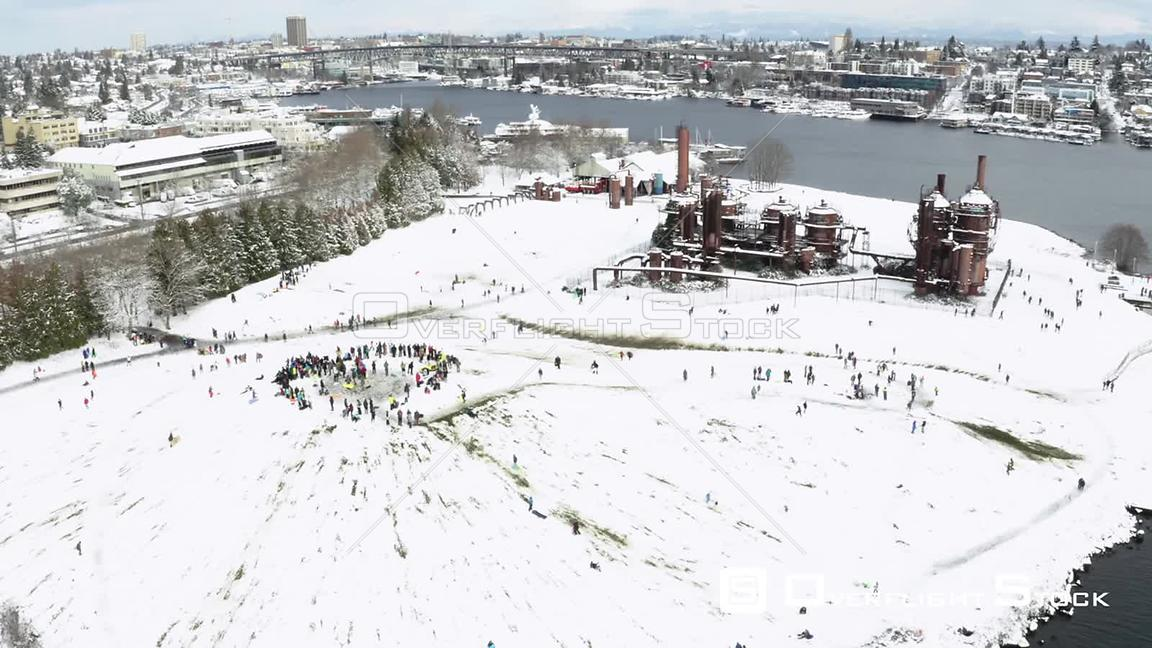 Gasworks Park Seattle on a Snowy Winter Day Washington State
