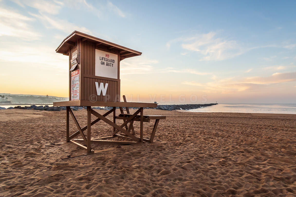 Newport Beach Wedge Lifeguard Tower W Sunrise Photo