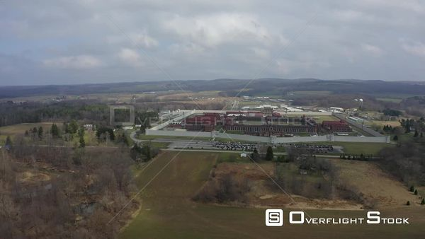 Attica Correctional Facility and Rural Countryside New York Drone Aerial View