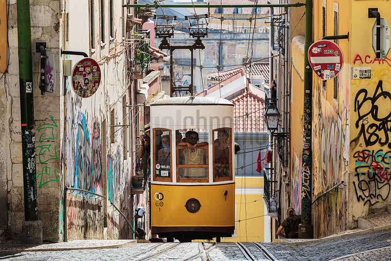 Funicular da Bica in the Baixa Chiado District of Lisbon