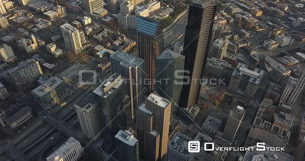 Drone Video Downtown Seattle Washington