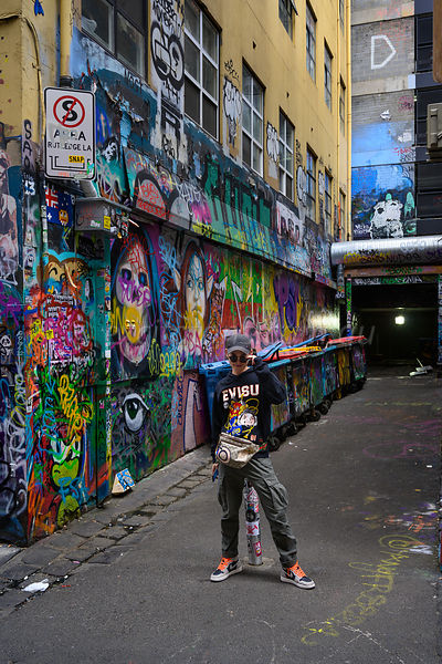 Young man, posing, Rutledge Lane, Melbourne.