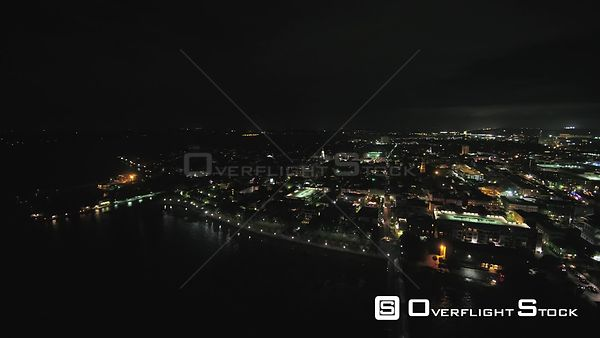South Carolina Charleston Aerial Birdseye night view of Cooper River and French Quarter