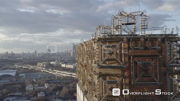 Higher Fly by Russian Academy of Science Main Tower, With Moscow City Wide View. Moscow Russia Drone Video View