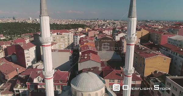 Aerial View Through Mosque Spires Istanbul Turkey
