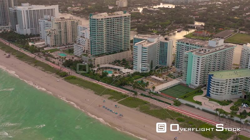 Miami Beach hotels and condominium buildings by the beach