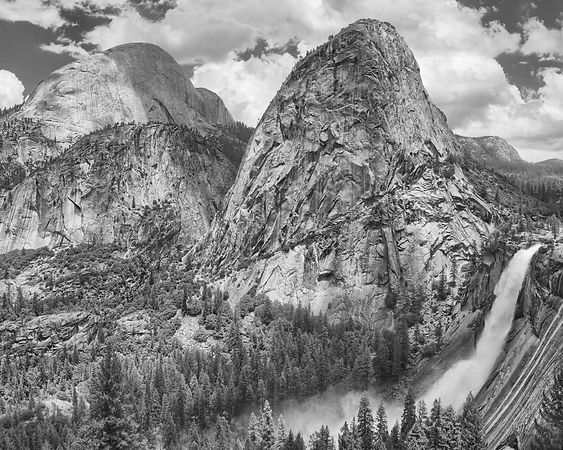 Half Dome, Liberty Cap and Nevada Fall from the John Muir Trail