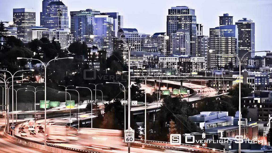 Seattle Washington State USA Seattle I5 traffic time lapse in the early evening with a cool effect.