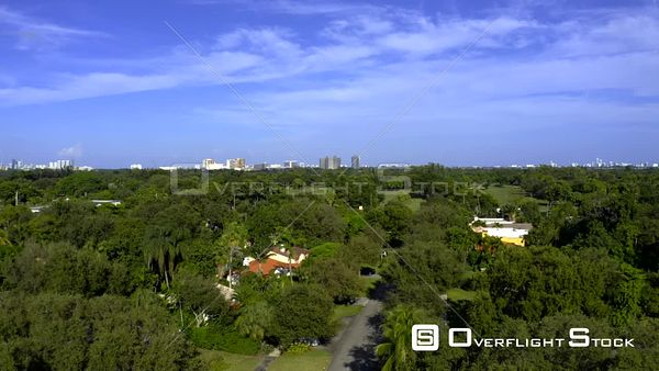 Aerial Traverse from Residential Neighborhood to Golf Course Miami Shores Fl Usa